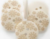 Natural Wooden Buttons - Flower Pattern - 20mm (3/4 inch)  - 2 Hole - Wood Button (NNA0Z6V)