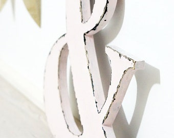 "Distressed Ampersand sign 12 "" wedding engagement decoration - photo prop shabby chic"