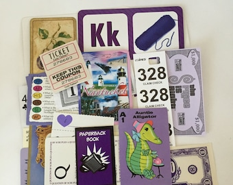 Purple SCRAP PACK / 20+ pc. Purple Ephemera Paper Pieces / Vintage Purple DIY Kit for Mixed Media Inspiration Kit, Collage, Altered Art