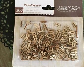 200 Wood Veneer Alphabet Die-cut / Wood Veneer Embellishments Alphabet letters