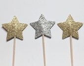 24 Gold & Silver Glitter Star Cupcake Toppers/Food Picks/Party Supplies No. 136