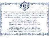 Printable Accommodations Card - 3.5x5 - Ornate Frame - Formal Elegant Vintage French - Navy Blue White, Brown Ivory, Red Yellow, Gold