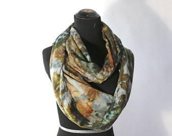"""Ice Dyed Tie Dyed Rayon Circular  Infinity Scarf, Shades Of Green And Gold, Agate Design, 77"""" around by 21"""" wide, Made To Order"""