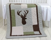 Deer Crib  Bedding,  Deer Crib Quilt,  Deer Baby Blanket, Deer  Head  Blanket, Chevorn, Green, Gray, Brown