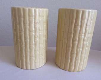 Two (2) USA Pottery Bamboo Mid Century Vases, Yellow Pottery Vases in Bamboo Pattern