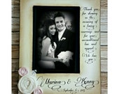 Thank wedding picture frame  Parents of the Bride Groom Gift With colors flowers Wedding 4x6, 5x7 personalized names Picture Frame Keepsake