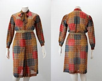 XL Vintage Dress - Devernois Patchwork Color Block Autumn Print