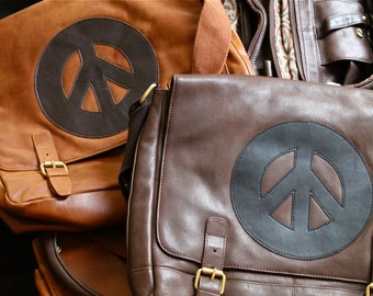 The Real leather  Peace Flap over Messenger Bag / Unisex, Laptop Bag, Courier Bag