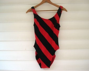 Vintage Robby Len 1980s swimsuit - red and black