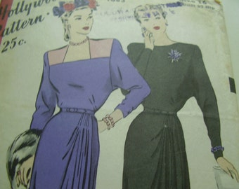 SALE Vintage 1940's Hollywood 1683 Dress Sewing Pattern, Size 16, Bust 34