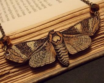 Brown Wooden Moth Statement Necklace