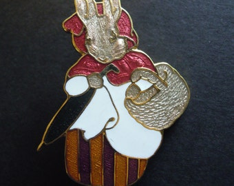 Mrs. Rabbit Peter Rabbit's Mom with Basket and Umbrella Vintage Pin Brooch