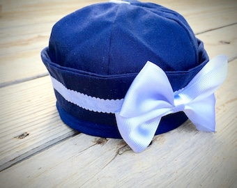 Navy and White Sailor Baby Girl Hat with a Bow
