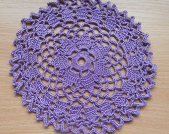Purple Lilac Crochet Doily, Round Doily, Home Decor, Table decoration, 6 inches, Lace Doily, Vintage, Centerpiece, Placemat, Tabe topper