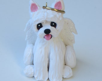 West Highland Terrier Dog Angel Christmas Ornament Polymer Clay