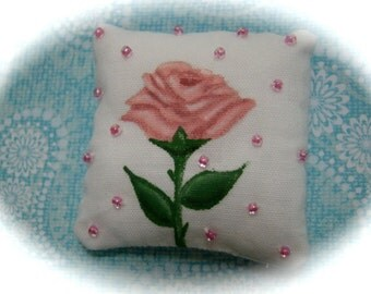 Single Pink Rose Miniature Dollhouse Pillow
