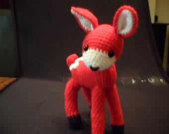 COMMANDE  FAWN toy stuffing soft toy crochetred handmade faon rouge crochet  laine peluche au crochet pour enfants animal de la forêt wood