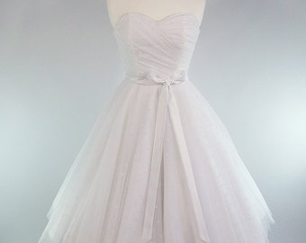 Made To Measure Fairytale White Duchess Satin & Polka Dot Lace Full Circle Skirt Wedding Dress - Detachable Straps and Sash