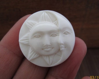 25 mm Hand carved Sun Face  and Crescent Moon Cabochon, Face Cabochon, Embellishment  B5328