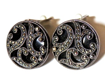 "925 Silver Marcasite Black Clip On Earrings, 1"" Round, 1970s"
