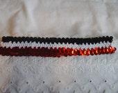 Red Black and White Sequin Headband - Sequin Headband - Multi Color Headband - Stretch Headband - Sparkling Headband - Shiny Headband