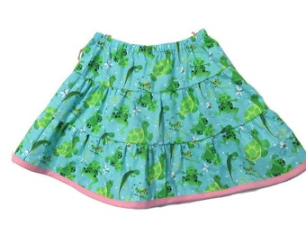 Toddler girls ruffle skirt - girls tiered skirt - Frogs 3 tiered twirly skirt - summer skirt - girls clothes - childrens clothes - Size 3t