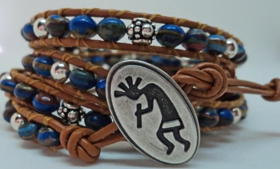 Rainbow Calsilica beaded 4x wrapped Greek leather bracelet with sterling silver accent beads and silver toned Kokopelli Button