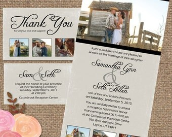 Rustic Slimline Photo Collage Invite Suite / 'The Samantha' Wedding-Shower Invite DESIGN - Printable DIY or We Print #Rustic #Samantha