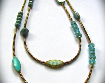 Double strand natural turquoise necklace with one-of-a-kind stones and Czech rondelles
