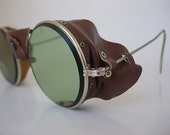 American Optical Goggles Vintage Steampunk Motorcycle Safety Eyeglasses Green Calobar Lenses Leather Bridge Side Shields New Old Stock (NOS)