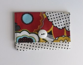On the Go Fabric Wallet-Floral and Polka Dot