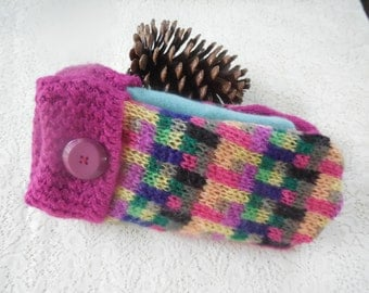 Felted Wool Mittens Adult Pink Multicolored  MH35