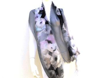 Soft Grey Floral Silk Scarf
