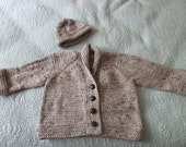 Hand knit light brown tweed little boy or little girl's cardigan and hat