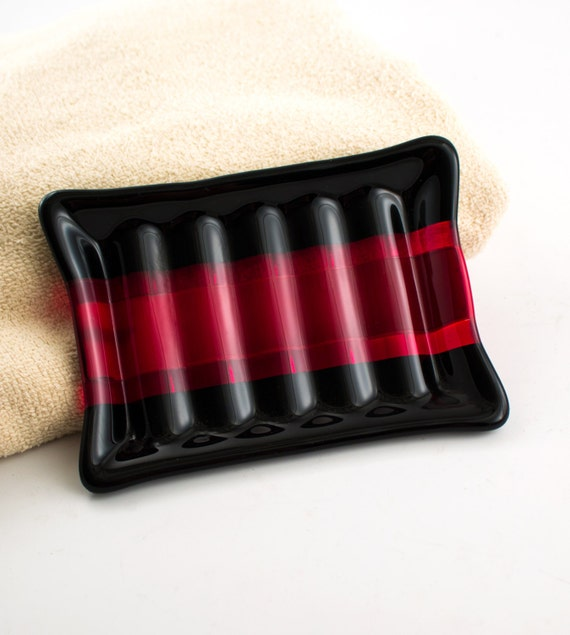 Black and red fused glass soap dish bath accessories modern for Black glass bathroom accessories