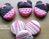 Minnie Mouse inspired candy buffet - Oreo Cookies Minnie Mouse inspired Buffet Package -  chocolate covered oreo cookies - party favors -