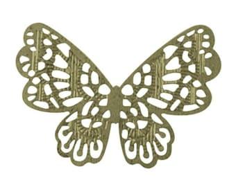 10pc antique bronze finish iron butterfly pendant/wraps-6992