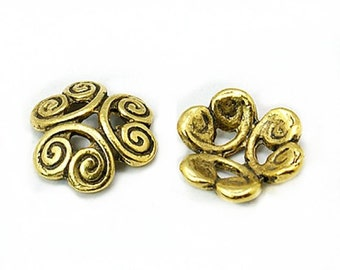 12pc antique gold finish 13mm flower shape bead caps-8457