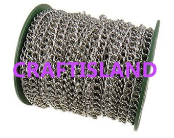 Wholesale 25 meters 10x7mm platinum look side twisted chain in roll-9721B