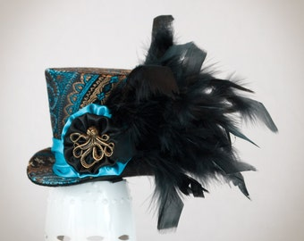 Black and Aquia Mini Top Hat,Burlesque hat, Steampunk,  Bachelorette party hat, Cosplay, Mad Hatter, Alice in Wonderland, hair accesories