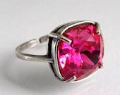 Fuchsia Swarovski Crystal Ring Adjustable Antique Silver Square Cushion