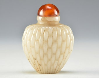 Chinese White Snuff Bottle - Soapstone Basket Weave