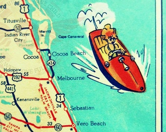 vintage map art COCOA BEACH map art vintage Florida beach map print 11x14 Sebastian Vero Beach aqua retro red speedboat kids room travel art