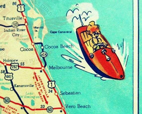 vintage map COCOA BEACH vintage Florida beach map print 11x14 Sebastian Inlet Vero Beach teal aqua retro red speedboat travel art fun