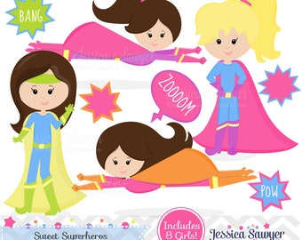 INSTANT DOWNLOAD, superhero girl clipart and vectors for personal and commercial use