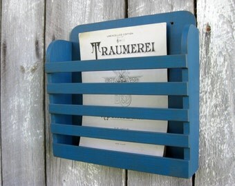 Medium Size Rustic Wood Distressed Peacock Mediterranean Blue Gray Graphite Hanging Magazine Menu Holder Vintage Design Store Organizer