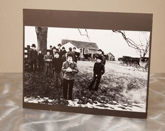 Gathering of Amish Boys  - Slightly Haunting - 1970's Original 16x20 B&W Photograph
