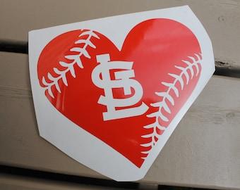 St.Louis Cardinals Heart Baseball Car window decal