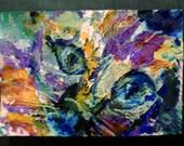 "clearance sale 4""x6"" WIDE EYED CAT original brut modern cute kitty kitteh eyes face facial closeup purple pink aqua orange yellow oswoa ooak"