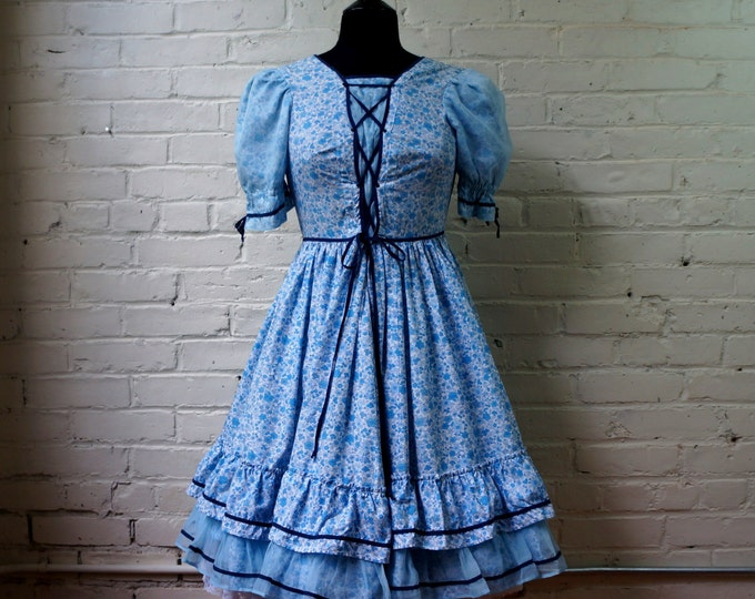 Calico Peasant Dress 1960s Vintage Blue White Cotton Laced Bust Ruffled Circle Skirt SMALL MEDIUM Western Prairie Country Girl Square Dance